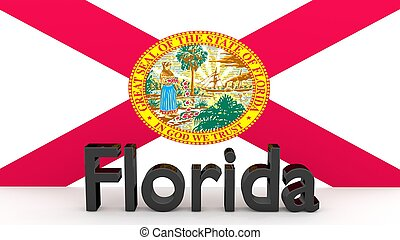 US state Florida, metal name in front of flag