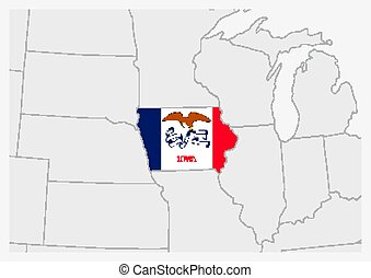 US state Iowa map highlighted in Iowa flag colors