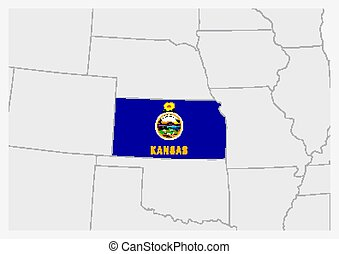 US state Kansas map highlighted in Kansas flag colors