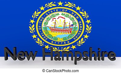 US state New Hampshire, metal name in front of flag
