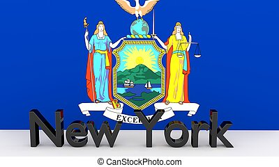 US state New York, metal name in front of flag