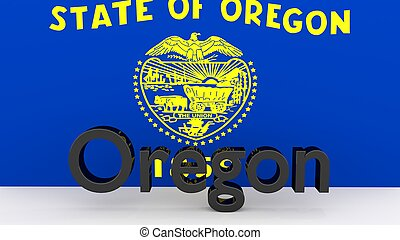 US state Oregon, metal name in front of flag