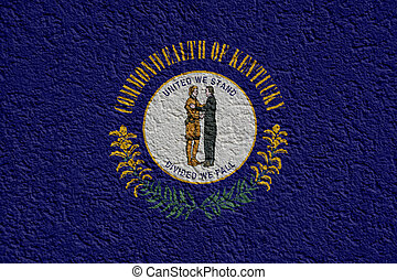 US State Politics Or Business Concept: Kentucky Flag Wall With Plaster, Background Texture
