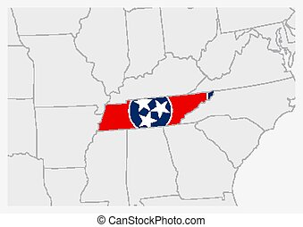 US state Tennessee map highlighted in Tennessee flag colors