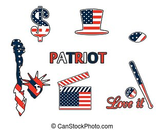 US symbols in the patriotic colors