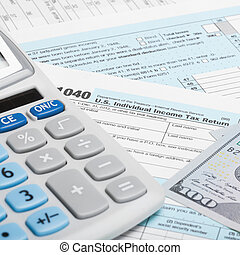 US Tax Form 1040 with calculator and US dollars - 1 to 1...