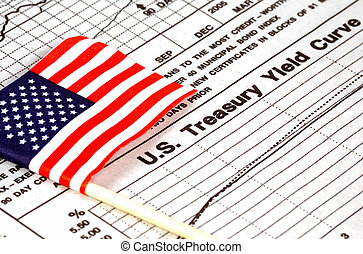 US Treasury - American Flag and Treasury Yield Curve Chart