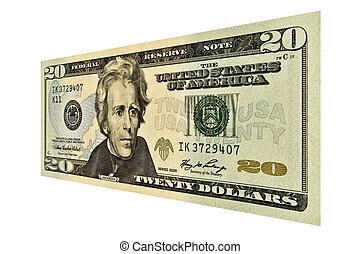 US Twenty Dollar Bill - Single $20 USD bill isolated on ...