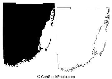 (u.s., us), condado de dade, unido, vector, estados, u..s..,...