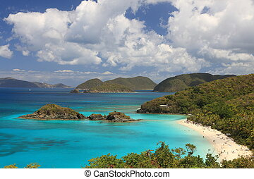 US Virgin Islands are true paradise in the Caribbean, Paradise-like US Virgin Islands in the Caribbean. Turquoise ocean and lovely landscapes., Paradise-like US Virgin Islands in the Caribbean. Turquo