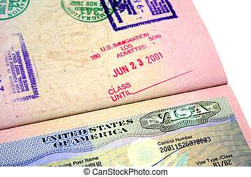 US Visa - A passport with the American visa.