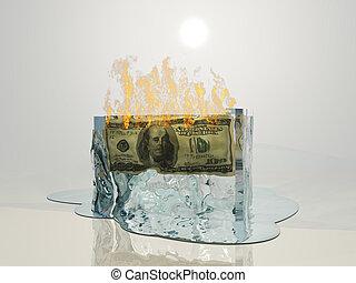 us währung, feuer, schmilzt, eiswürfel