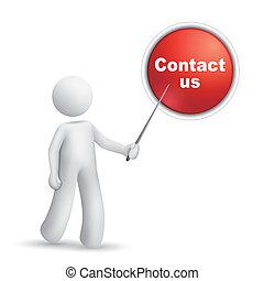 """us"""", wijzende, knoop, persoon, """"contact, 3d"""