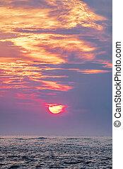 usa, öböl, mexikó, felett, florida, clearwater, napnyugta