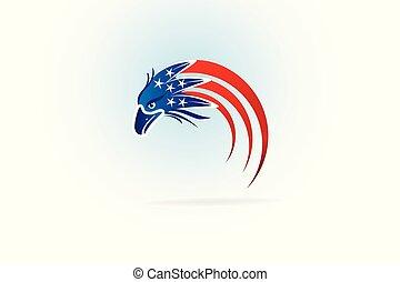 usa, łysy orzeł, amerykańska bandera, logo