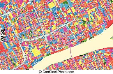 u.s.a 。, カラフルである, デトロイト, ベクトル, 地図, ミシガン州
