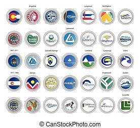 usa., ベクトル, 旗, セット, 州, icons., シール, colorado