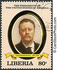 usa, (1901-1909), timbre, imprimé, théodore, -, série, spectacles, présidents, 1982:, 1982, roosevelt, président, environ, libéria