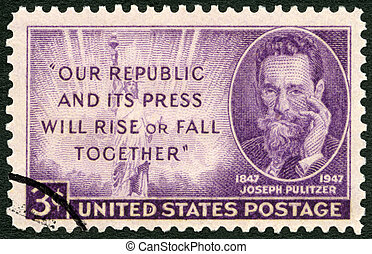 USA - 1947: shows Joseph Pulitzer (1847-1911) Birth...