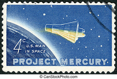 """USA - 1962: shows """"Friendship 7"""" Capsule and Globe, Project..."""