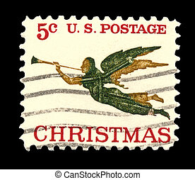 USA - CIRCA 1965 - This American Christmas postage stamp shows an 1840 weathervane (the angel Gabriel and horn) on the People's Methodist Church, Newburyport, Massachusetts.