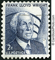 USA - 1965: shows Frank Lloyd Wright (1867-1959) and...