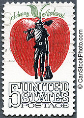 USA - 1966: shows Johnny Appleseed, (John Chapman, 1774-1845...