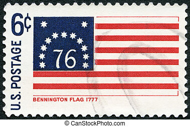USA - 1968: shows Bennington flag, 1777