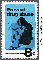 USA - CIRCA 1971: A stamp printed in USA shows a Young Woman Drug Addict, Prevent Drug Abuse, Drug Abuse Prevention Week, circa 1971