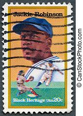 USA - 1982: shows Jackie Robinson (1919-72), baseball player