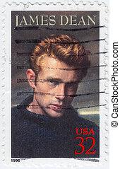 :, usa, 1996, briefmarke, james, -, gedruckt, dekan, zirka