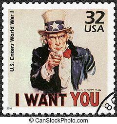 USA - 1998: shows Uncle Sam, U.S. enters World War I, series...