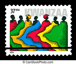 USA - CIRCA 2004- Kwanzaa holiday postage stamp titled People in Robes. Design by Derry Noyes, circa 2004.