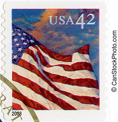 USA - 2008: shows an American Flag flying in the breeze at sunset, series Flag 24/7