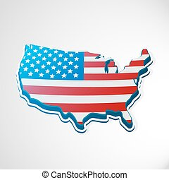 USA 3d flag in form of map.