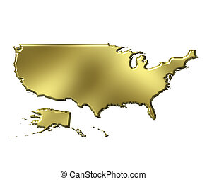 USA 3d Golden Map