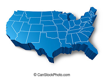 United states blank 3d map isolated on white background ... on blue nile state map, america red blue county map, blue 3d usa map,