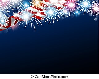 USA 4th july independence day design of american flag with fireworks vector illustration