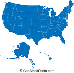 USA 50 States Blue Color - Vector map of United States...
