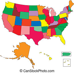 USA 50 States in Color, with Puerto Rico and Virgin Islands...