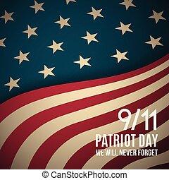 usa, 9/11, arrière-plan., retro, banner., patriote, jour