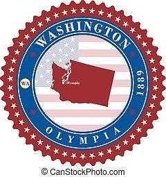 usa., adesivo, washington, etichetta, stato, cartelle