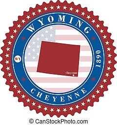 usa., adesivo, wyoming, etichetta, stato, cartelle