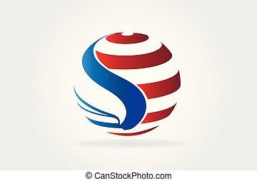 usa, aigle, logo, drapeau américain
