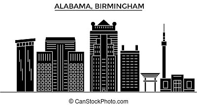 Usa, Alabama. Birmingham architecture vector city skyline, black cityscape with landmarks, isolated sights on background