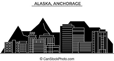 Usa, Alaska, Anchorage architecture vector city skyline,...