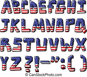 usa alphabet - American flag font