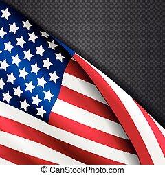 usa, américain, drapeau ondulant, vecteur, fond, patriotique