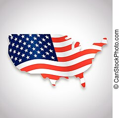usa america flag flying in map symbol vector