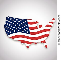 usa america flag flying in map symbol waving vector